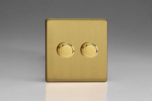 Varilight TEBP252S Euro Brushed Brass 2 Gang 2-Way Push-On/Off Dimmer 40-250W V-Dim